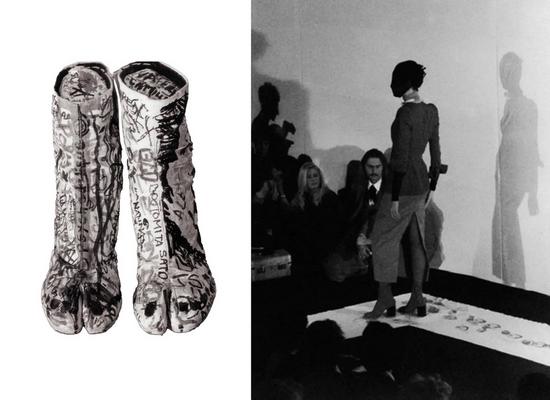 左:MARTIN MARGIELA 1990系列的涂鸦Tabi踝靴 右:MARTIN MARGIELA 1989春夏系列呈现的Tabi踝靴