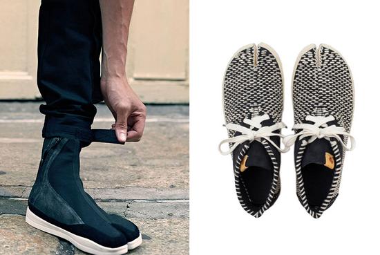 左:Abasi Rosborough Technical Tabi Boot 右:VISVIM Tabi Shashiko Folk运动鞋